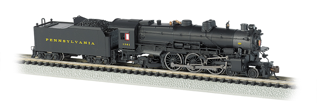Brunswick Green//Gold//Red Stripes Pre-War with Slat Pilot N Scale Bachmann Industries PRR K-4S 4-6-2 Pacific Steam Locomotive with DCC Sound